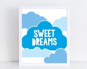 Sweet dreams print / Cloud print / Nursery art / Kids decor / Nursery print / Kids print / Children print / Kids wall art / Kids bedroom art