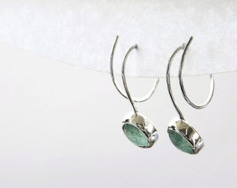 Silver Green Aventurine Earrings, Green Gemstone Jewelry, Green Semi Precious Stone, Bezel Set Earrings, Anniversary Gift