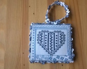 small embroidered blue heart frame