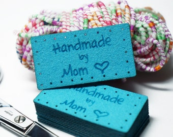 handmade by Mom labels with holes for easy attaching