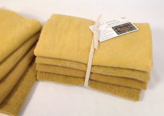 Summer Golds, 4) Fat Eighths, Hand Dyed Wool fabric for Rug Hooking and Applique, W444, Daffodils, Sunflowers, Roses