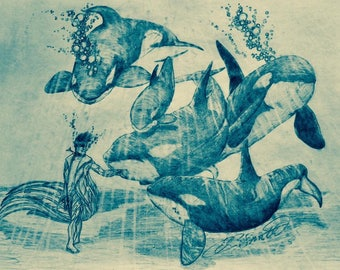 My Family- mythical orca pencil sketch original print