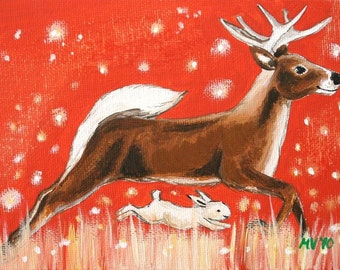 Field of Stars - PRINT, woodland animals, deer, stars
