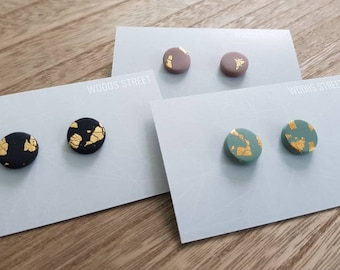 Mini Studs w/ Gold Leaf