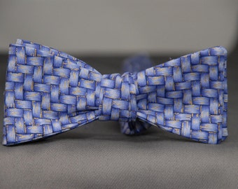 Basket Weave in Purple and Touch of Gold  Bow Tie