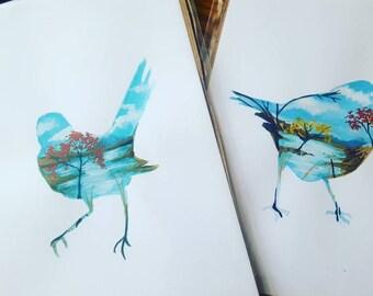 DRUID BIRDS: The Robin & The Wren. set of 2