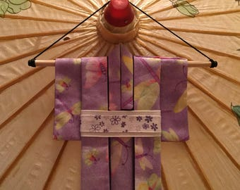 Fabric Origami Kimono - Purple, Butterflies and Firefly Design