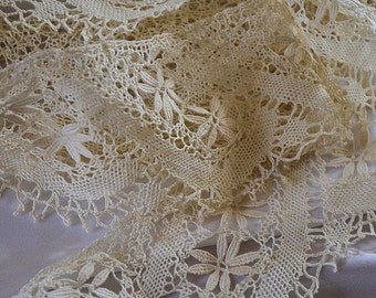 Antique french lace, sheet or curtain border, 1900s