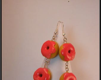 Earrings donuts polymer clay.