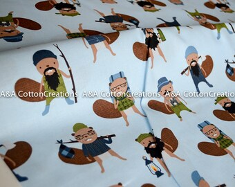 Campsite Critters Cotton, 17621-169 Lake by Andie Hanna, Burly Beavers Fabric, Blue Fabric, Hipster fabric, Boy Fabric, by yardage