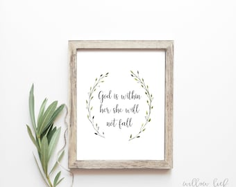 God is within her she will not fall, Wall art, Watercolor Print, Quote, nursery print