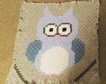 Custom Colours Crochet Owl Baby Blanket Crochet Owl Blanket C2C, Infant Newborn Crib Afghan, Baby Shower Present, Gift for New Mom