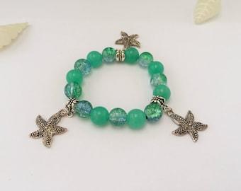 Bracelet charm's blue, green with stars sea ref 530