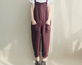 Women Casual Linen Jumpsuits Overalls Pants With Pockets Vintage Linen Harem Pants
