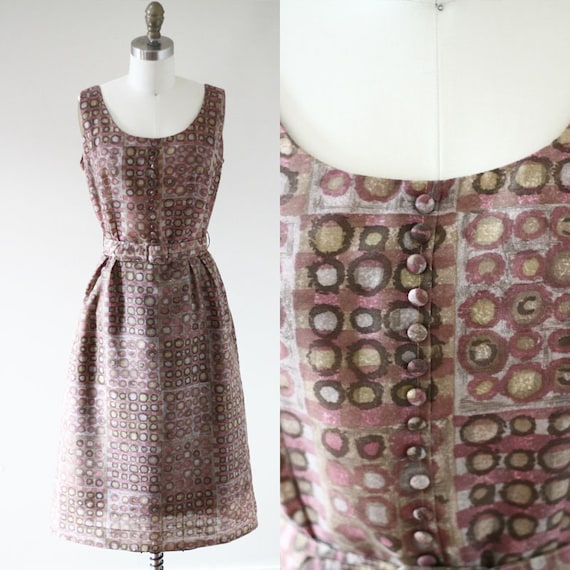 1960s painted circl sheath dress // 1960s novelty print dress // vintage day dress