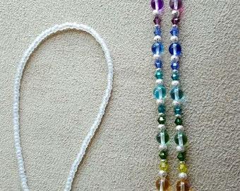 RAINBOW Glass  Swarovski Crystals Crystal  Elements Eyeglass Chain Holder