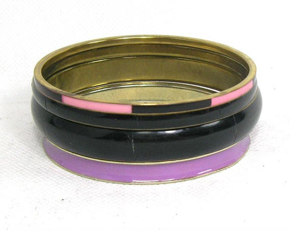 Vintage Set of Brass Bangles in Black and Pink
