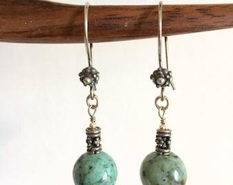 Earrings. African Turquoise. Sterling Silver earrings.