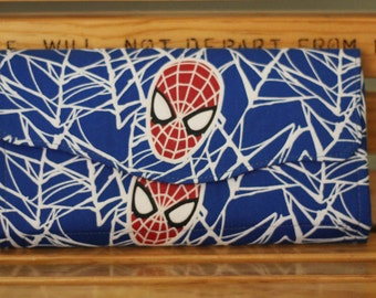 Spiderman Necessary Clutch Wallet -- Blue Red White Glow in the Dark, Magnetic Closure- NCW Pattern by Emmaline Bags - Ready to Ship