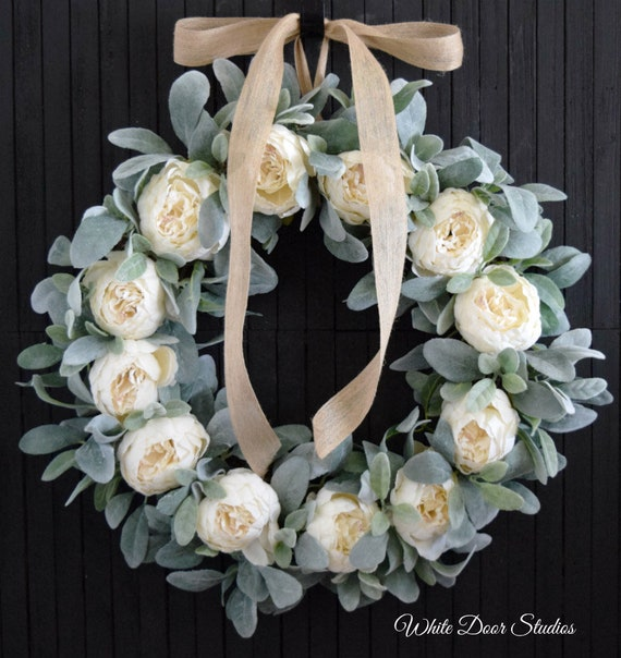 Ready to Ship White Peony and Lamb's Ear Romantic Farmhouse Wreath for Front Door or Wedding