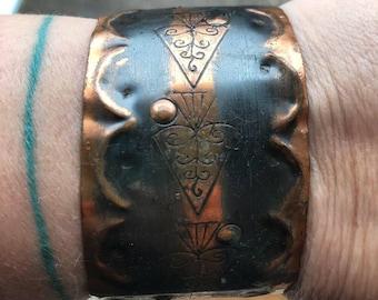 70s stamped copper cuff bracelet
