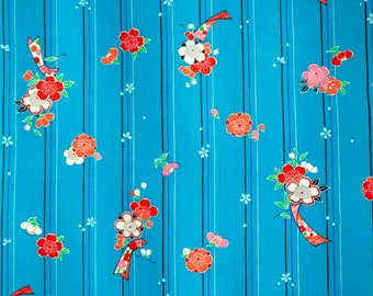 Vintage Japanese kimono fabric - Emerald Ume mixed wool  yotsumi kimono fabric