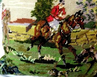 """Needlepoint  PILLOW Equestrin design Horse & Rider 13 x 13"""" square w Velvet back , zipper"""