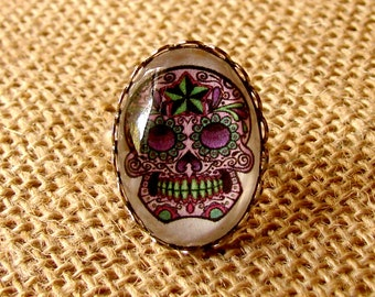 Sugar Skull Ring - Purple and Lime - Adjustable Ring - Dia de los Muertos - Day of the Dead Ring - Sugar Skull Jewelry - Purple and Green