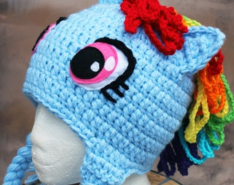 Rainbow dash my little pony MLP inspired crochet hat with earflaps Made to order