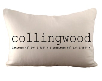 Collingwood Or Custom Coordinates - Cushion Cover - 12x18 - Choose your fabric and font colour