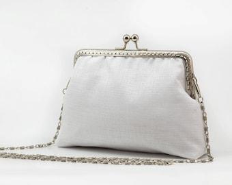 White Bridal Clutch Purse - White Bridesmaid Clutch Purse - Wedding Clutch Purse - Evening Clutch Purse - Silver Frame