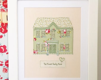 Framed personalised stitched house picture - New home gift/Housewarming present