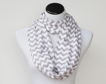 Gray scarf chevron scarf infinity scarf zigzag grey white stripes scarf - circle scarf loop scarf gift for petite woman and girl
