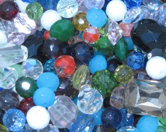 Larger Faceted Glass Beads (about 10mm to 30mm Sizes)- Random Shapes, Sizes & Colors- Choose lot sizes from 1/4 lbs/ pounds to 1 lb/ pound