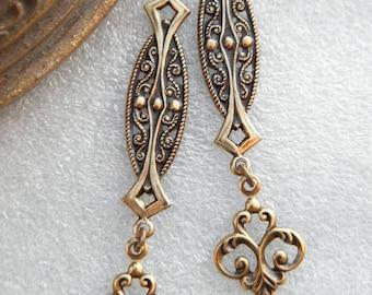 SET of 2 beautiful old METAL medieval inspired EARRINGS PENDANTS gold VINTAGE
