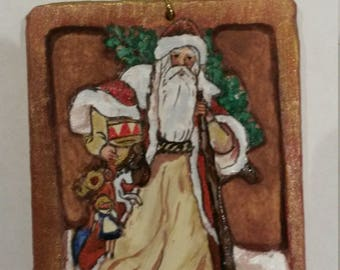 Handcarved, handpainted Christmas ornament in bass wood. Original, unique, collectible, one of a kind. Shipping & personalization included.