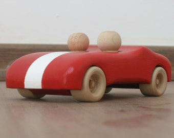 Handcrafted wooden toy - red car with white stripe - pretend play car toy with two peg people