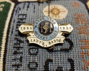 All Original Royal Hong Kong Jockey Club Enamel Brooch Badge 1951