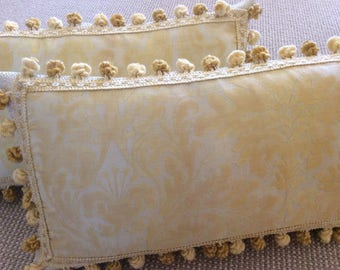 """Fortuny Pillow Cover in """"Sevres"""" Yellow and Ivory Pattern, Italian Ball Trim"""