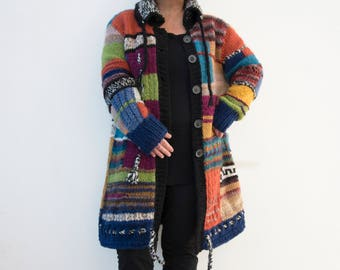 Patchwork wool coat, 40/42, hand knitted