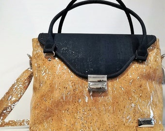 Cork Handbag with Blue & Silver - Fine Cork Bag - Cork Purse - Eco-friendly Shoulder Bag - 100% Natural Cork