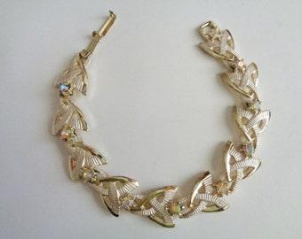 Vintage Gold Tone Link Bracelet with Rhinestones