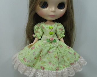 Handcrafted long sleeve dress outfit for Blythe doll 44-16