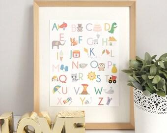 Alphabet Print   Alphabet Art   ABC Print   Alphabet Poster   Kids Room   Nursery Art