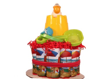 Beach Baby Diaper Cake - Summer Baby Shower Centerpiece - Baby Gift
