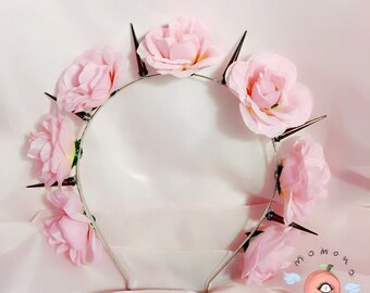 Baby pink flowercrown with spikes