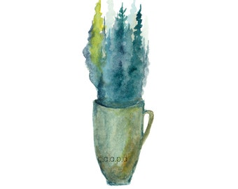 Pine Mug - 3  - Watercolor Art Print - pine trees, forest, coffee, mug, tea, nature, north woods