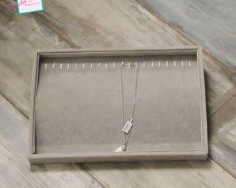 Display great trays for necklace/bracelet 35 x 24 x 3 cm, gray Velvet