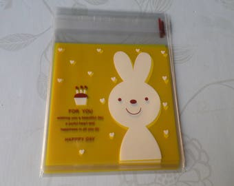 x 10 sachets/adhesive yellow pouch pattern Bunny Candy/Cake plastic 13 x 10 cm