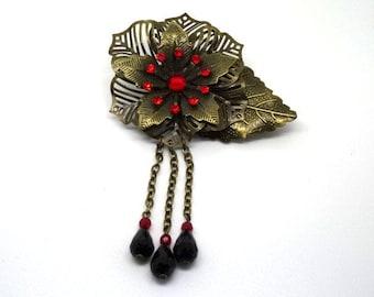 Victorian flower brooch